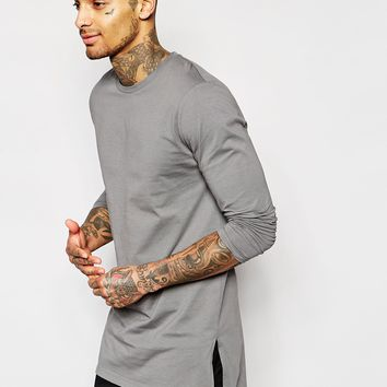 ASOS Longline Long Sleeve T-Shirt With Side Splits