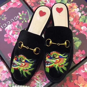 GUCCI Women Fashion Casual Embroidery Slipper Mules Shoes