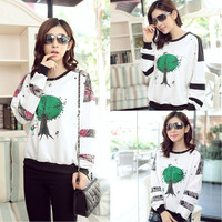 White Cartoon Print Floral Long Sleeve Top
