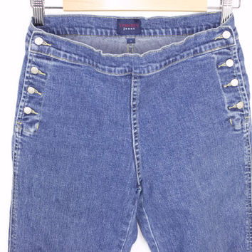 90s TOMMY HILFIGER sailor jeans / vintage 1990s / tommy girl / flared leg / side button  / womens size 7