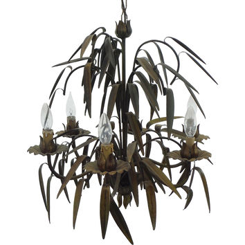 Tole Palm Leaves Chandelier