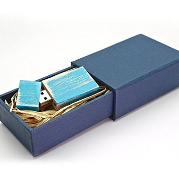 Maple Wood Antique Finish 8GB Flash Drive - Natural Eco Vintage USB 2.0 8 GB Thumb Drive - Stained Finish in Sea Island Blue - Inserted into a Super Strong handmade Paper Box with Raffia grass inside.