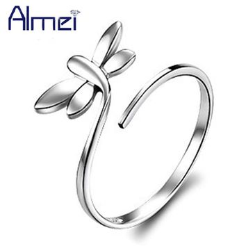 Almei Wedding Rings for Women Adjustable Silver Color Animal Open-end Ring Butterfly Anillos Female Jewelry Dropshipping J049