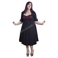 Plus Vintage 60's Bow Heart Side Button Two Tone Black & Burgundy Satin Dress