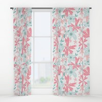 coral and mint flowers Window Curtains by sylviacookphotography