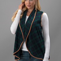 Plaid Print Vest, Green
