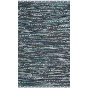 Safavieh Hand-woven Rag Rug Ink Cotton Rug (4' x 6') | Overstock.com Shopping - The Best Deals on 3x5 - 4x6 Rugs