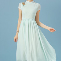 Mint Green Stand Collar Chiffon Pleated Dress