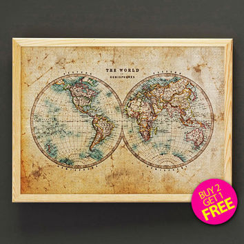 Vintage World Map Print Antique World Map Poster Housewear Wall Art Decor Gift Linen Print - Buy 2 Get FREE - 405s2g