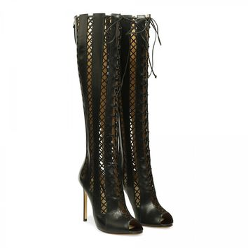 FRANCESCO RUSSO Lattice cut-out boots