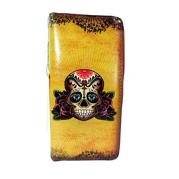 Vintage Tattoo Sugar Skull - Rose and Anchor Art Wallet