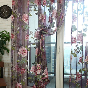 Stylish Floral Tulle Voile Window Curtain Panel Sheer Drape Scarf Valances C93 = 1957883204