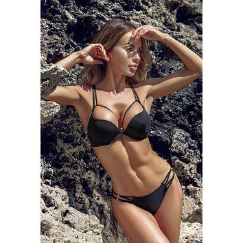 Jolidon Clandestine Chrissy Black Strappy Push-Up Triangle Top & Cheeky Rear Bottom Swimwear Swimsuit Bikini