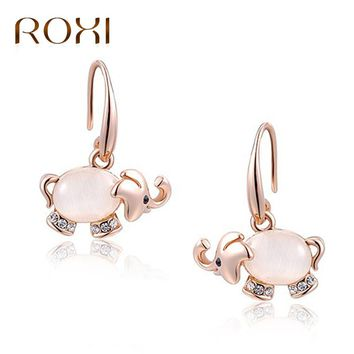 ROXI Stud Earrings Animal Jewelry Cute Elephant Shaped Opal Stud Earrings For Women Fashion Rose Gold Statement Earrings Brincos