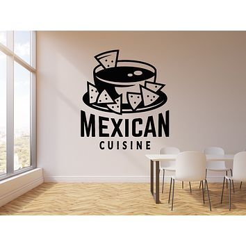 Vinyl Wall Decal Mexican Cuisine Inscription Nachos Fast Food Stickers Mural (g1424)
