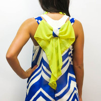 MACA Clothe · Royal Blue Diamond Top with Yellow Bow