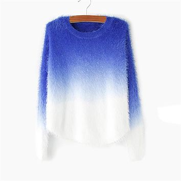 Women's Pullovers cashmere fashion o-neck loose 100% fluffy sweater