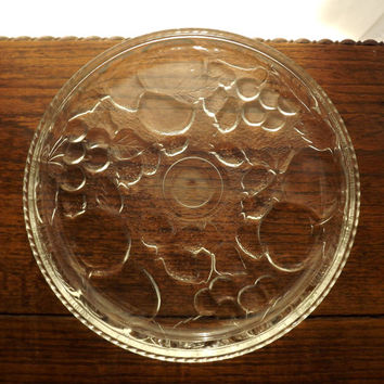 Clear Glass Plate, Round Platter, Fruit Serving Plate, Wine and Cheese Plate, Glass Cake Plate and Bakelite Cake Cutter Set,