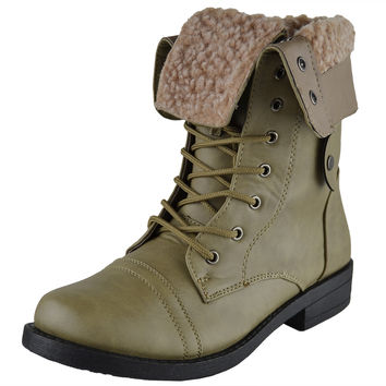 Womens Mid Calf Boots Fold Over Cuff Fur Lined Lace Up Combat Shoes Taupe SZ