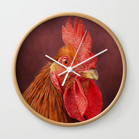 Red Rooster Portrait Wall Clock by Linsey Williams Wall Art, Clothing, And