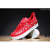 Nike & LV & Supreme men's printed letters graffiti camouflage casual shoes F-SSRS-CJZX Red