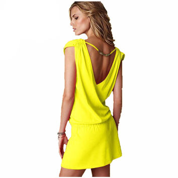 New 2016 Retail 9-Color Cotton + Polyester + Lycra Halter Deep V-neck Vestido Sexy Fashion Spring And Summer Beach Dress