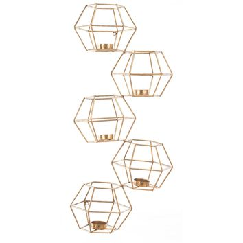 Gold Wall Candle Holders (Set of 5)