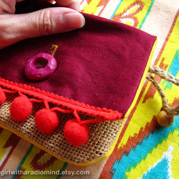 Coin Purse - Red Indian Gypsy / Maroon Indie Jute Navajo Card Holder with Pompom - FREE SHIPPING WORLDWIDE