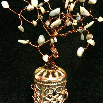 Crystal Chip Copper wired Free Standing Tree of Life