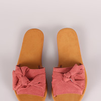 Bamboo Suede Knotted Bow Slide Sandal