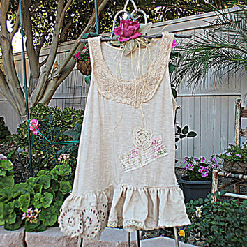 Tattered Mori Girl Shirt | Gypsy Shabby Clothes | Women's Clothing | Romantic Altered Couture
