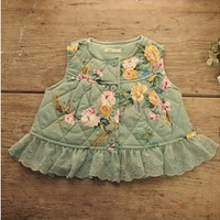 Vintage Inspired Girls Clothes Little Girls Pink Floral Vintage-inspired Jacket | Vindie Baby