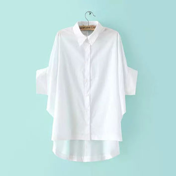 Summer Korean Women's Fashion Cotton Blouse [6513979527]