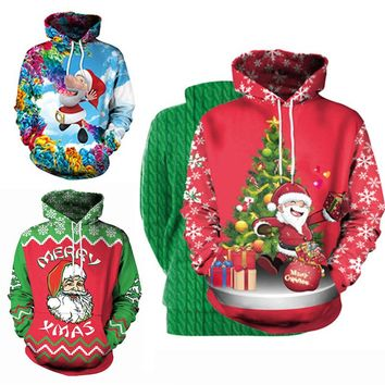 3D Unisex Sweater Women Winter Fashion Funny Graffiti Pattern with Cap Long Sleeve Pullovers Ladies Loose Ugly Christmas Sweater