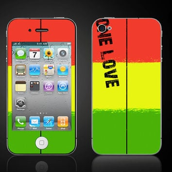 One Love Reggae Jamaica rasta colors - iPhone 4 4S Vinyl Decal Wrap Skin Sticker Cover - Free Shipping - NOT a HARD CASE- iPhone skin