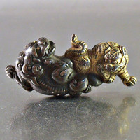 Japanese Menuki Shakudo Sterling Brooch, Gold Tiger with Panther, Figural