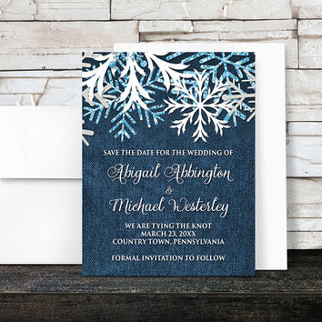 Snowflake Denim Save the Date Cards - Rustic Winter Country Navy Blue Denim - Printed Flat Cards