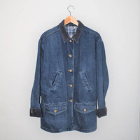 denim chore coat 90s vintage long jean jacket unisex small