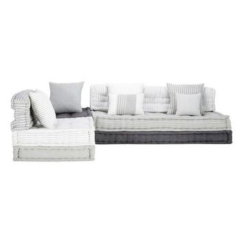 6 seater cotton modular corner day bed in grey and white Honfleur | Maisons du Monde