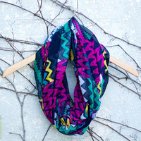 Villager Purple Zig Zag Infinity Scarf
