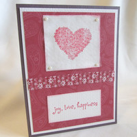 CLEARANCE - Handmade Card - Valentine's Day Card  - Hand Stamped Card - Blank Card - Joy Love Happiness - Love and Romance - Red Heart Card