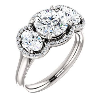 1.5 Ct Round Diamond Engagement 3 Stone Ring 14k White Gold