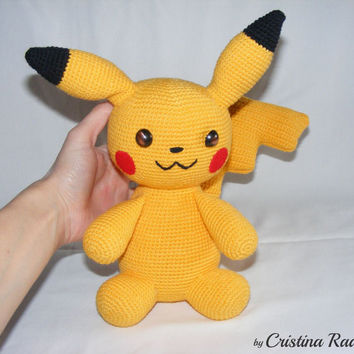Pikachu pokemon, crochet pikachu, stuffed pokemon, amigurumi pikachu, collectible pokemon, yellow toy pikachu, children's gift, soft monster