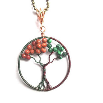 Tree Of Life Pendant, Wire Wrapped Malachite Goldstone Tree Of Life Pendant, Wire Wrapped Jewelry, Brown And Green Jewelry, Nature Jewellery