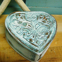 Mermaid Heart Jewelry Box Heart Box in Turquoise and White