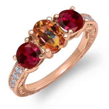 2.12 Ct Ecstasy Mystic Topaz Red Created Ruby 18K Rose Gold Plated Silver Ring