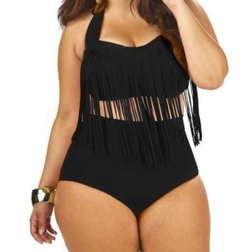 High Waist Bikini Sexy Tassel Swimsuit Plus Size Swimwear L to XXXL Strappy Bandage Swimming Suit for Women Bathing Suit E996