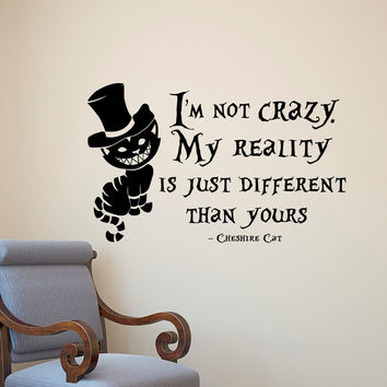Alice In Wonderland Wall Sticker Cheshire Cat Quotes Vinyl Decals Room Wall  Art Decoration DIY Home Part 85