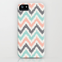 Mint Gray Coral Zigzag Pattern iPhone Case by heartlocked
