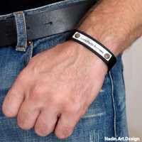 Personalized Mens Leather Bracelet - Customized Wristbands for men - Best Gift